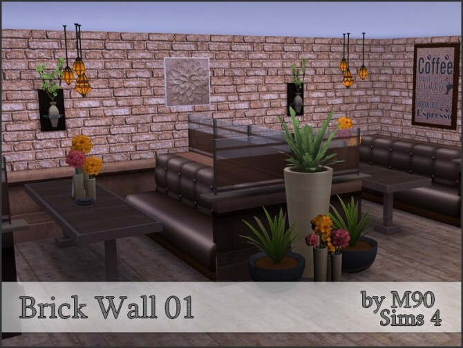 Sims 4 M90 Brick Wall 01 by Mircia90 at TSR