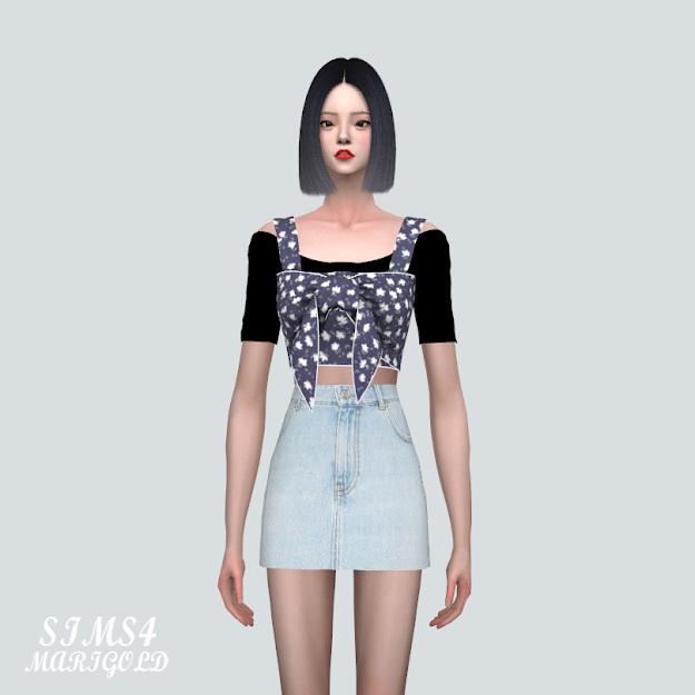 Sims 4 Summer Ribbon Sleeveless Top With T at Marigold