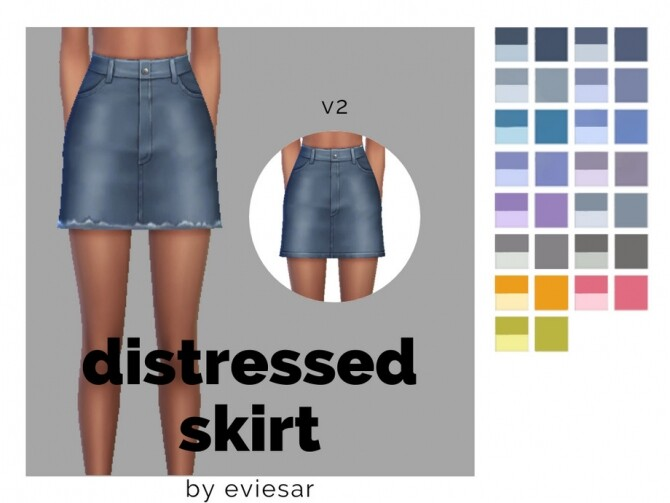 Sims 4 Distressed Denim Skirt by EvieSAR at TSR