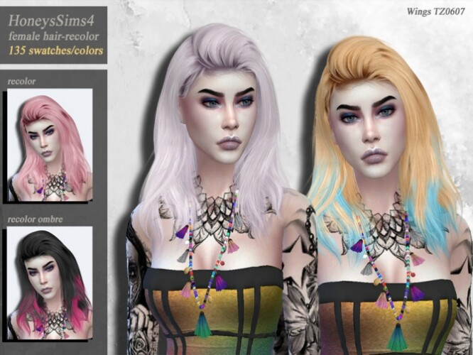 Wings TZ0607 female hair recolor by HoneysSims4