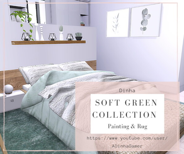 Soft Green Collection Painting Rug