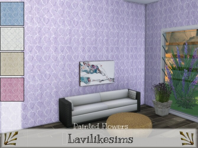 Sims 4 Painted Flowers Wallpaper by lavilikesims at TSR