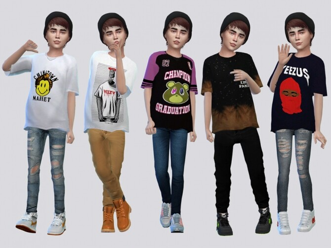 Sims 4 Yeezy Shirt Kids by McLayneSims at TSR
