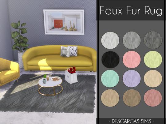 Faux Fur Rug at Descargas Sims image 862 Sims 4 Updates
