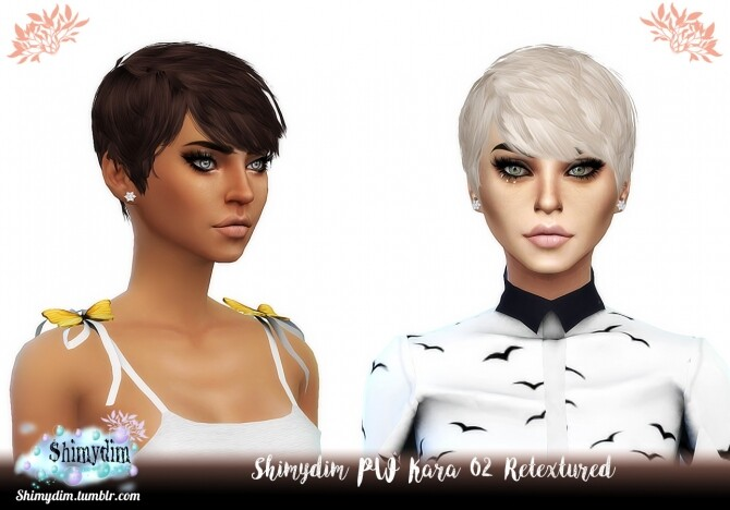 Sims 4 PW Kara Hair 01 & 02 Retexture Naturals + Unnaturals at Shimydim Sims