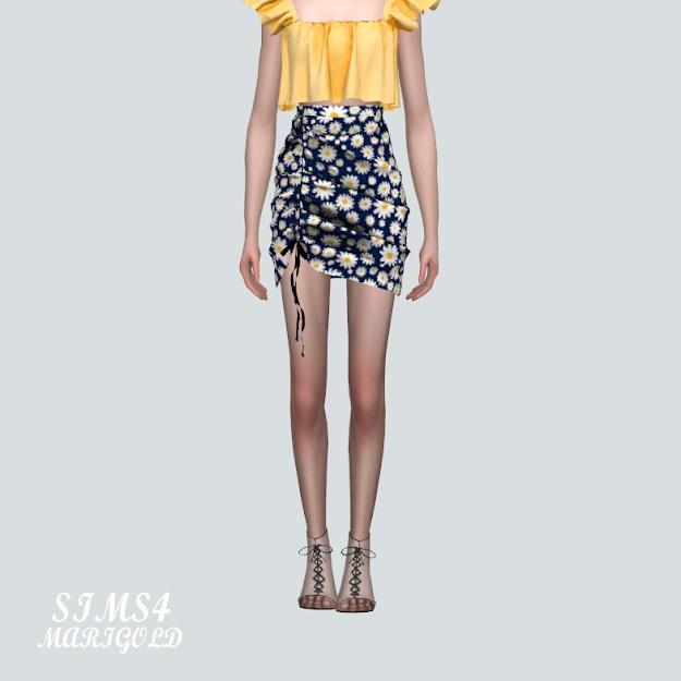 Sims 4 E Shirring Mini Skirt Pattern V at Marigold