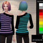 Off Shoulder Striped Sweater by neinahpets