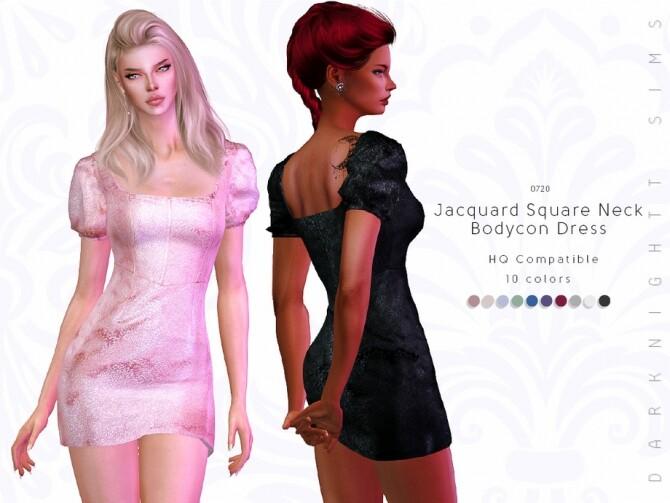 Sims 4 Jacquard Square Neck Bodycon Dress by DarkNighTt at TSR