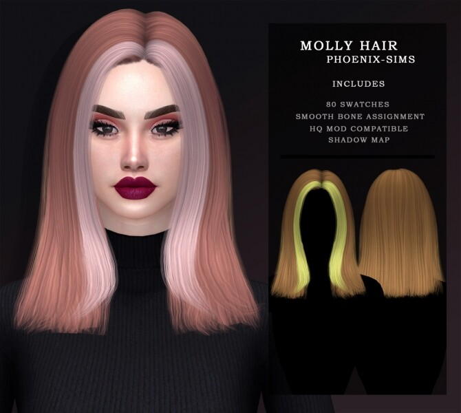 Sims 4 ALESSIA HAIR WITH BEANIE + MOLLY HAIR at Phoenix Sims