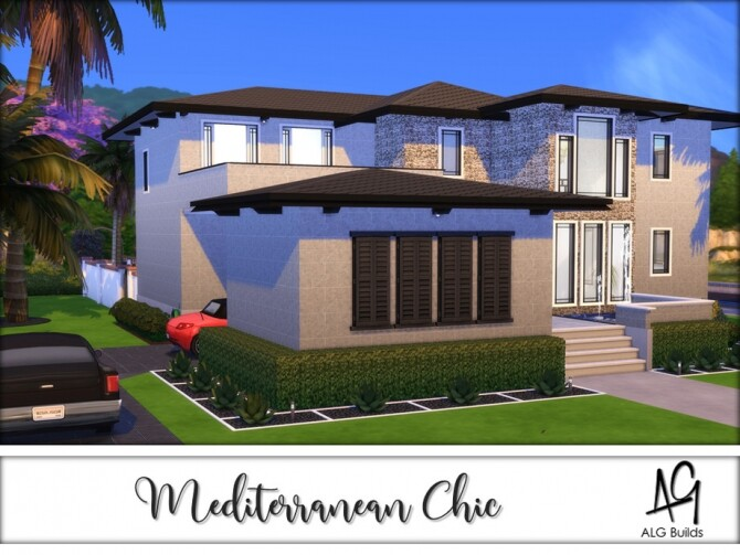 Sims 4 Mediterranean Chic Home by ALGbuilds at TSR