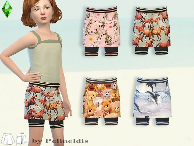 Sims 4 Girls Skirt and Tank Set by Pelineldis at TSR