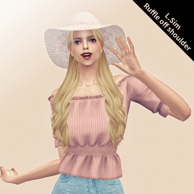 Sims 4 Ruffle off shoulder top at L.Sim
