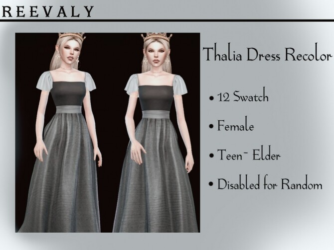 Sims 4 Thalia Dress Recolor by Reevaly at TSR