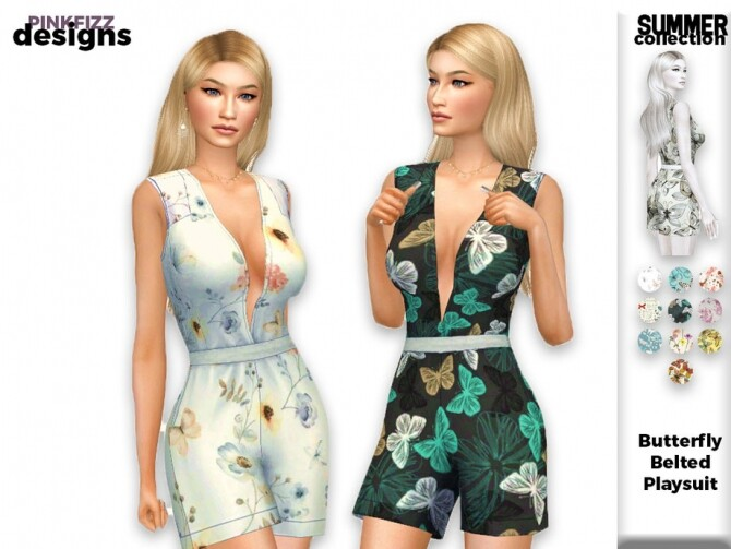Sims 4 Summer Butterfly Belted Playsuit by Pinkfizzzzz at TSR