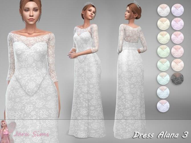 Sims 4 Wedding dress Alana 3 by Jaru Sims at TSR