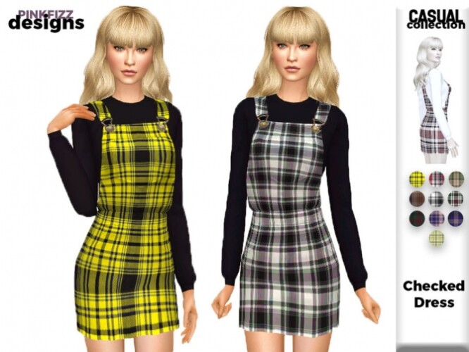 Casual Checked Dress PF150 by Pinkfizzzzz