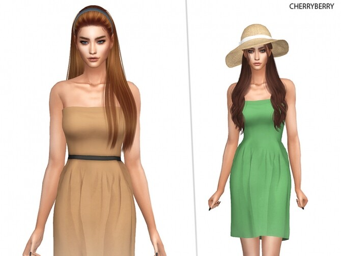 Sims 4 Earth Tones Dress by CherryBerrySim at TSR