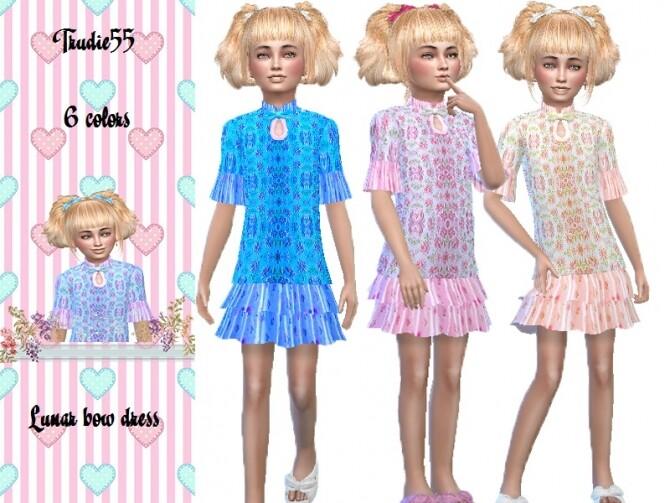 Sims 4 Lunar bow dress by TrudieOpp at TSR