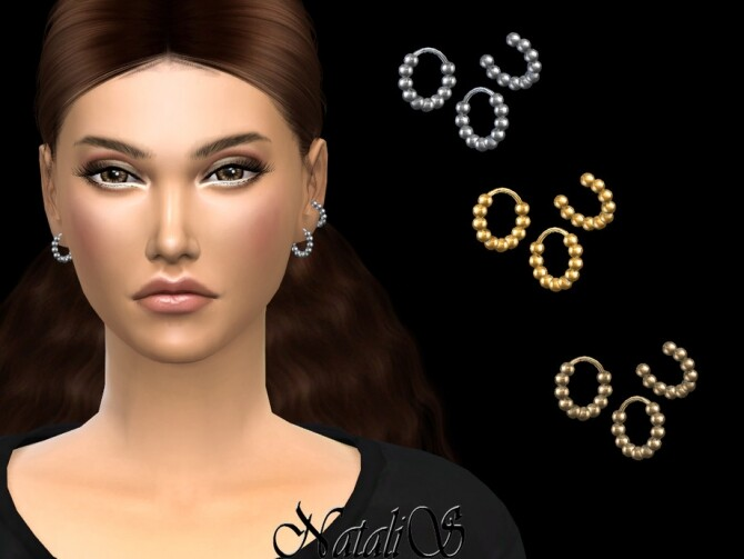 Sims 4 Beaded hoop and ear cuff by NataliS at TSR