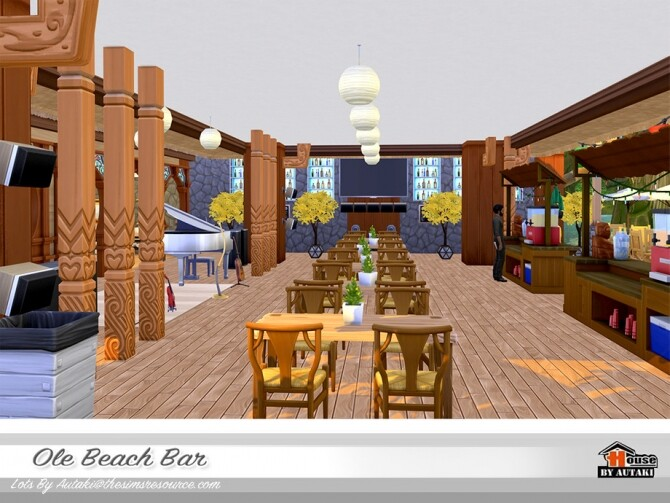 Sims 4 Ole Beach Bar NoCC by autaki at TSR