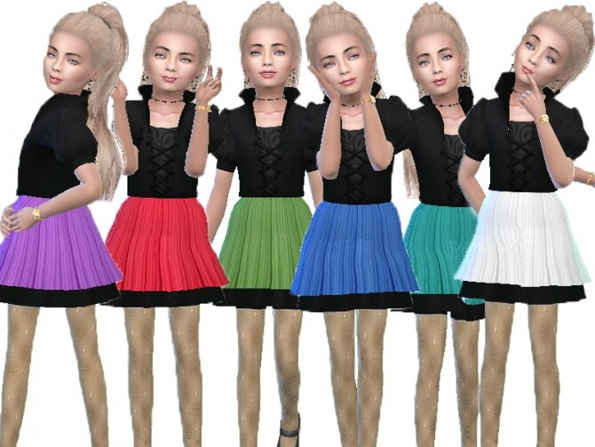 Sims 4 Puff sleeve mini dress by TrudieOpp at TSR