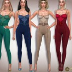 Strapless Satin Bustier Jumpsuit by Harmonia