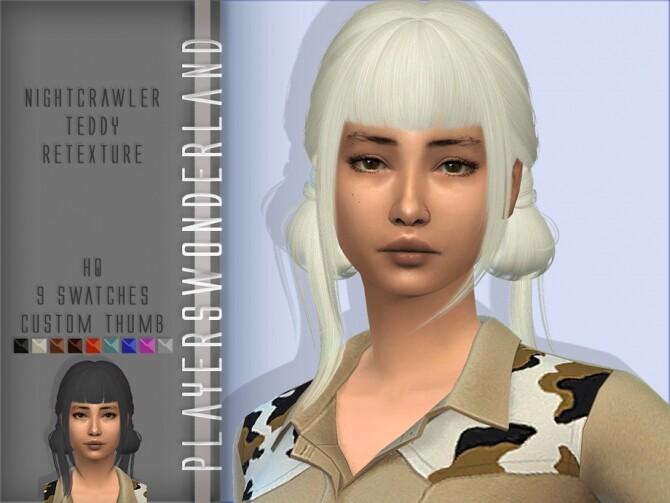 Sims 4 Nightcrawler Teddy Hair Retexture by PlayersWonderland at TSR