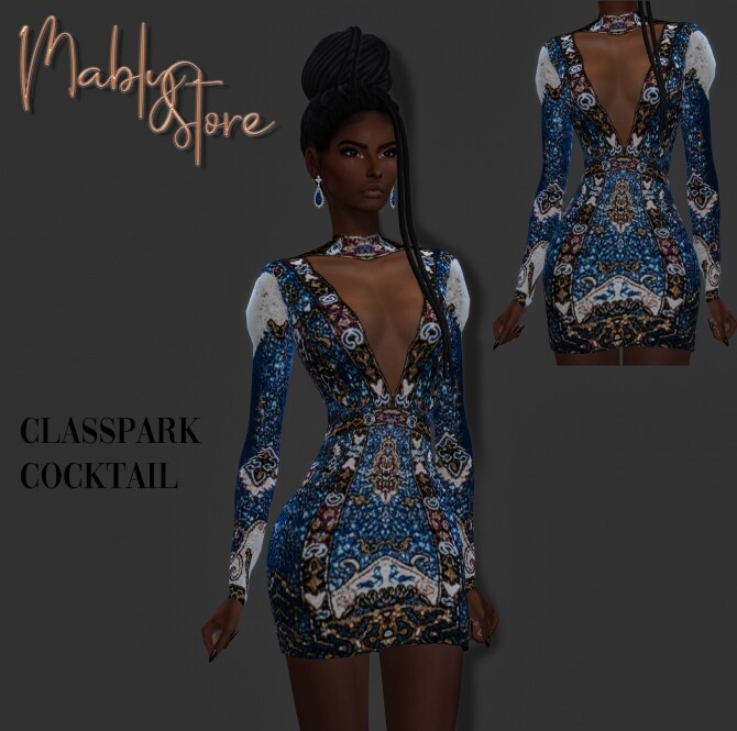 Sims 4 CLASSPARK COCKTAIL DRESS at Mably Store