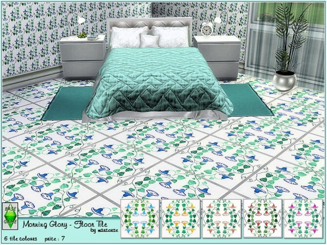 Sims 4 Morning Glory Floor Tile by marcorse at TSR