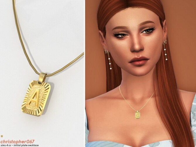 Sims 4 Initial Plate Necklace by Christopher067 at TSR