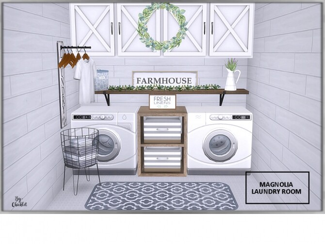 Magnolia Laundry Room by Chicklet at TSR image 1193 670x503 Sims 4 Updates