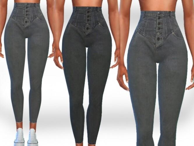 Super High Waist Button Jeans by Saliwa