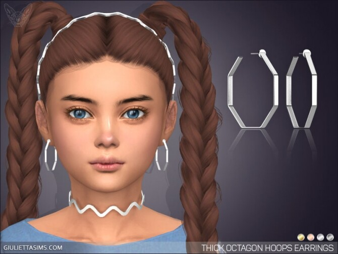 Sims 4 Thick Octagon Hoop Earrings For Kids at Giulietta