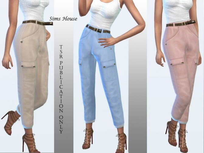 Womens cargo pants in pastel colors by Sims House at TSR image 1236 670x503 Sims 4 Updates