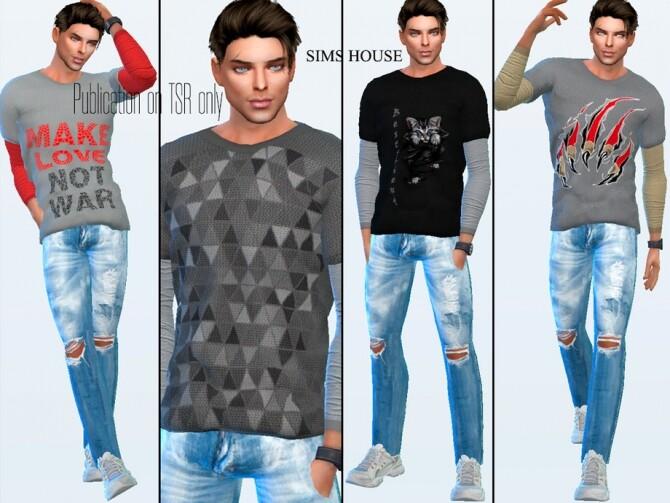 Sims 4 Mens Long Sleeve T shirt Print by Sims House at TSR
