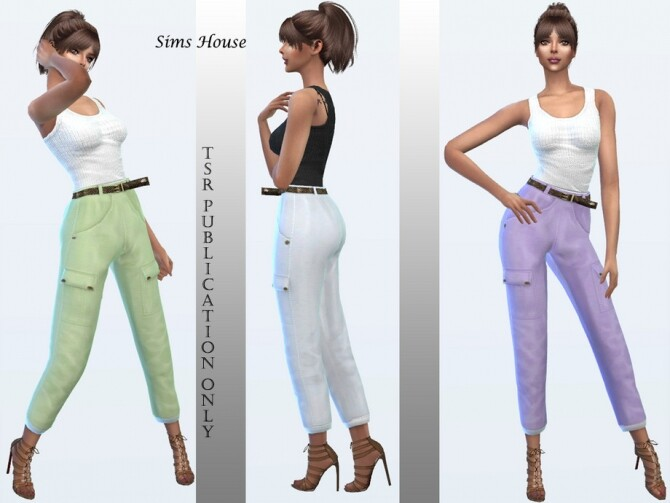 Womens cargo pants in pastel colors by Sims House at TSR image 1246 670x503 Sims 4 Updates