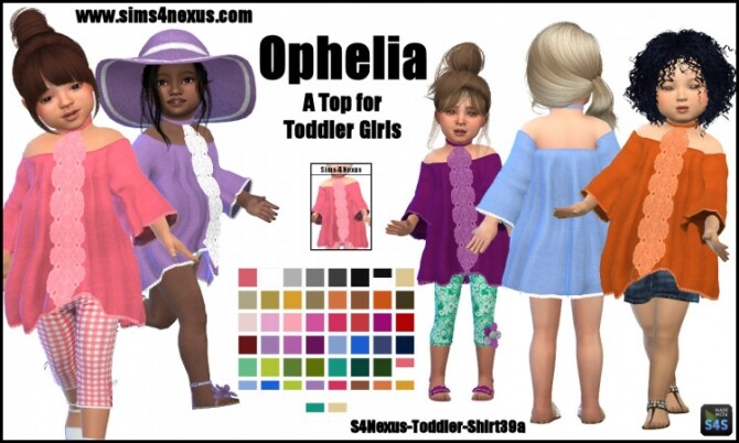 Sims 4 Ophelia top for little girls by SamanthaGump at Sims 4 Nexus