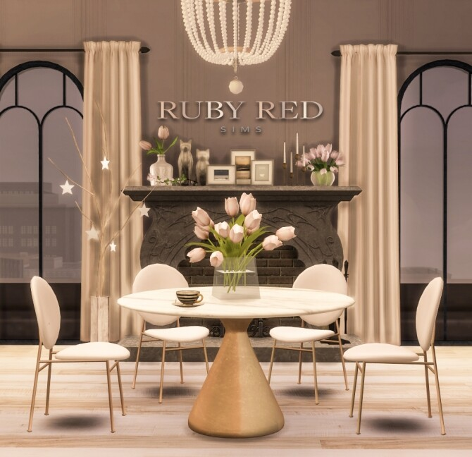 Silhouette Pedestal Dining Table & Chairs at Ruby's Home Design image 1261 670x648 Sims 4 Updates