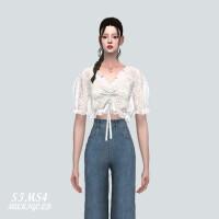 Lace Shirring Blouse