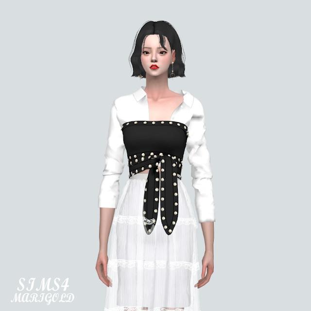 Stud Ribbon Crop Top With Shirts 2 at Marigold image 1291 Sims 4 Updates
