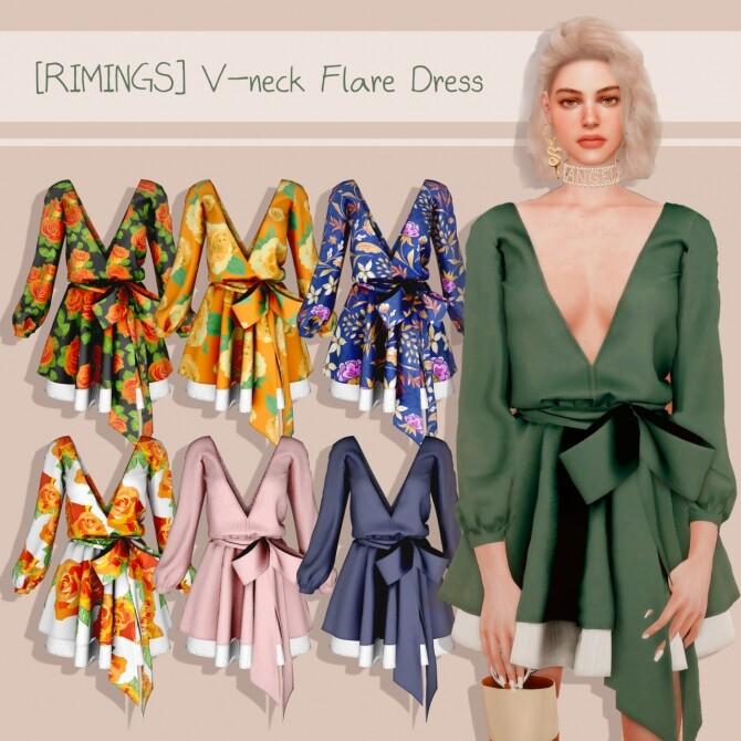 V neck Flare Dress at RIMINGs image 1292 670x670 Sims 4 Updates