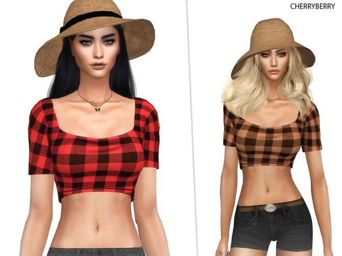 Plaid Country Top by CherryBerrySim at TSR image 1296 670x503 Sims 4 Updates