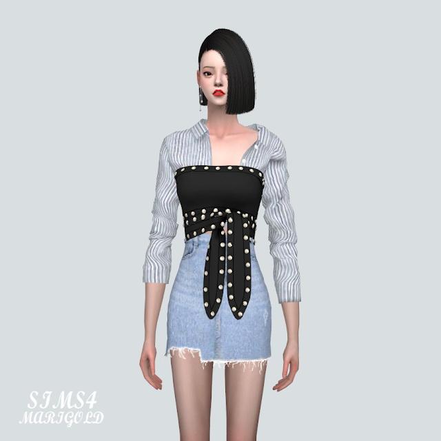 Stud Ribbon Crop Top With Shirts 2 at Marigold image 1301 Sims 4 Updates