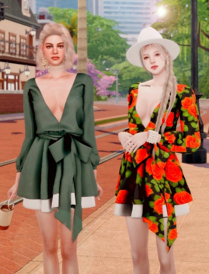 V neck Flare Dress at RIMINGs image 1302 670x879 Sims 4 Updates
