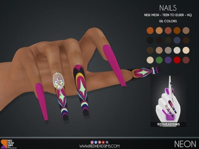 NEON NAILS at REDHEADSIMS image 13111 670x503 Sims 4 Updates