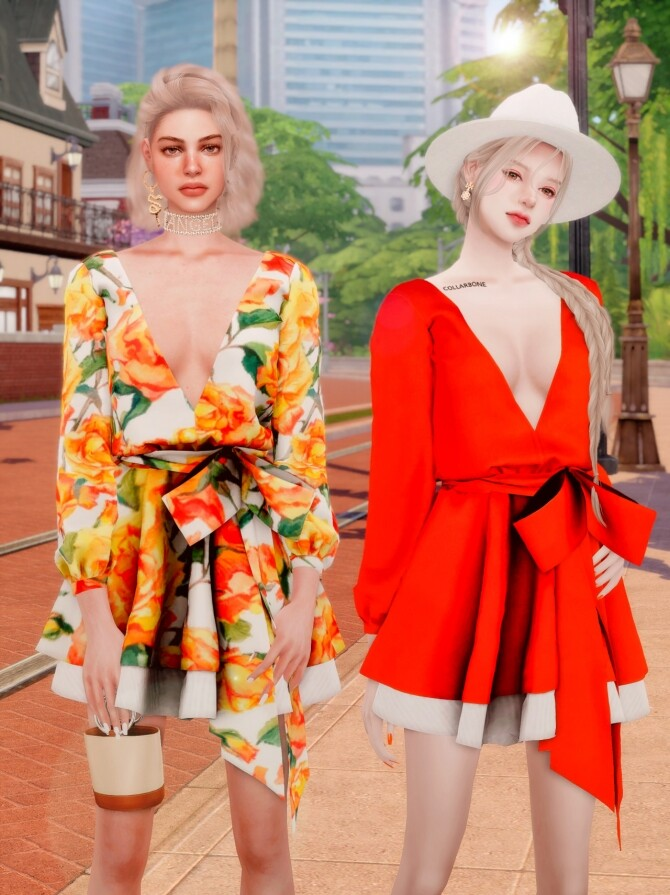 V neck Flare Dress at RIMINGs image 1321 670x895 Sims 4 Updates