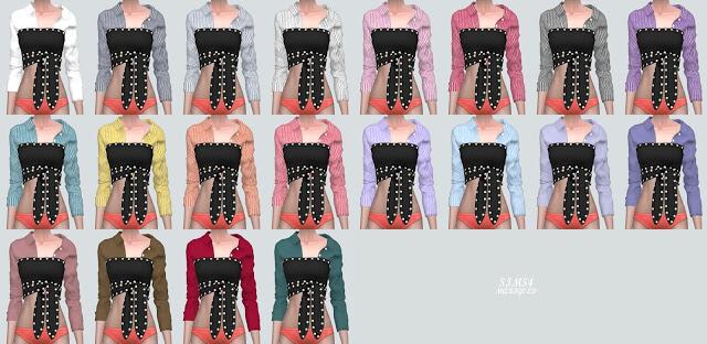 Stud Ribbon Crop Top With Shirts 2 at Marigold image 1331 Sims 4 Updates