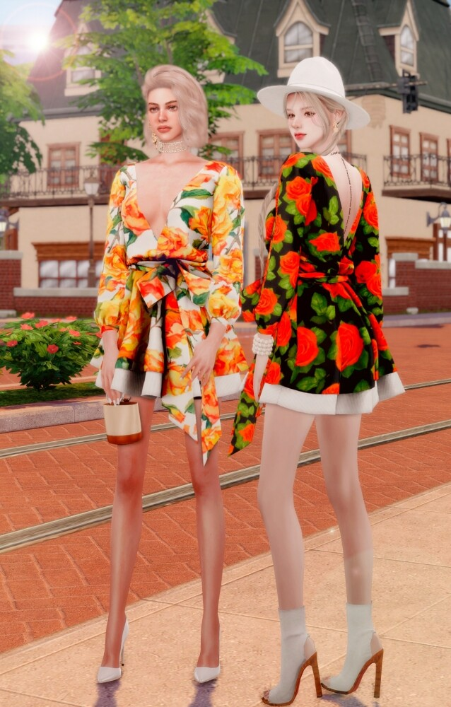V neck Flare Dress at RIMINGs image 1332 638x1000 Sims 4 Updates