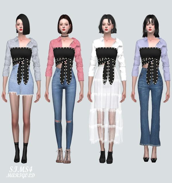 Stud Ribbon Crop Top With Shirts 2 at Marigold image 1341 Sims 4 Updates