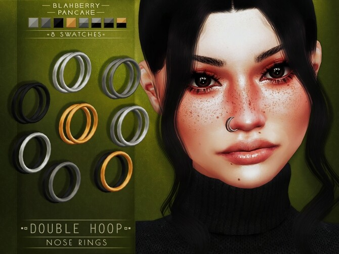 Sims 4 Double Hoop Nose Rings & Moon Nose Studs at Blahberry Pancake